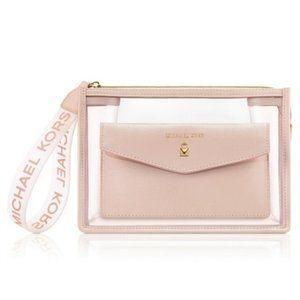 NWT MICHAEL KORS Clear Blush Pink Wristlet/Clutch